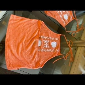 Orange Lace Halter Top